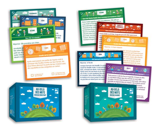 Les 2 boites du jeu Au-delà des mots ainsi que quelques exemples de fiches.
