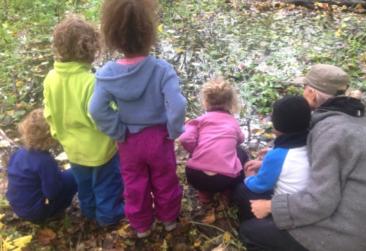 enfants qui observe dans la forêt